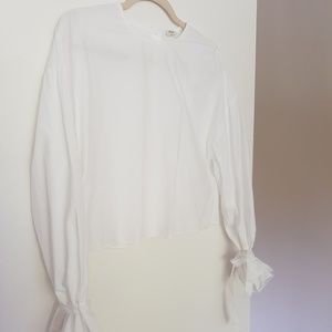 Wilfred Cropped Button-back White Blouse, sz S